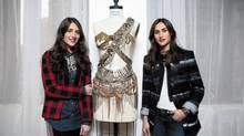 Jodie, left, and Danielle Snyder, creators of DANNIJO, a jewellery and accessory label, pose for a photo in Toronto on Nov. 30, 2012. (Matthew Sherwood for The Globe and Mail)