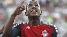 Joao Plata, of Canada's Toronto F.C., celebrates after he scored his second goal against Mexico's Santos Laguna during a semi-final match of the CONCACAF Champions League in Torreon, Mexico Wednesday April 4, 2012. (Associated Press)