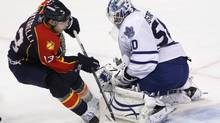 Florida Panthers center Mike Santorelli attempts a shot at Toronto Maple Leafs goalie Jonas Gustavsson during the second period of an NHL hockey game Wednesday, Nov. 10, 2010, in Sunrise, Fla. (Wilfredo Lee)