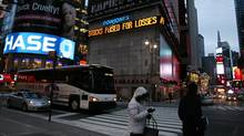 An electronic display in New York's Times Square. (Peter Morgan/AP)