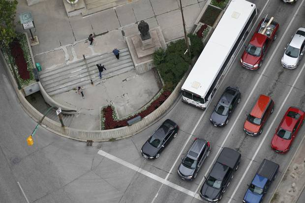 The intersection of Winnipeg's Portage Avenue and Main Street is sometimes called the crossroads of Canada, given how close it is to the longitudinal centre of the country. But if you're a pedestrian trying to cross it above ground, forget about it.
