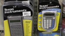 Texas Instruments products are displayed at a computer store in Santa Clara, Calif. (Paul Sakuma/AP)
