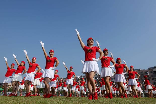 Rongan, Guangxi region: Dancers pose in formation on Oct. 8 to celebrate the upcoming party congress.