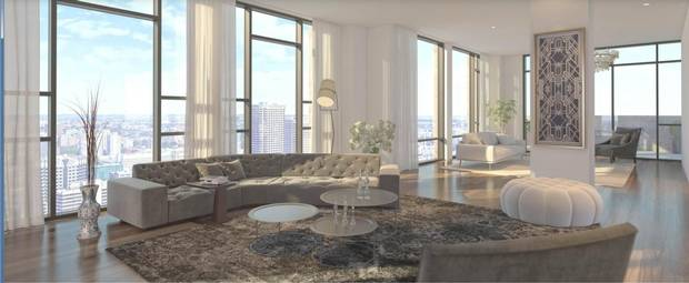 A rendering of the penthouse unit in the 35-storey luxury condo tower at 628 St. Jacques being built by Montreal developer Broccolini, which boasts full views of the river and the skyline.