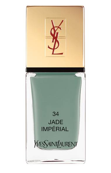 "Best nail colour: YSL La Laque Couture in Jade Impérial, $27 at Sephora (www.sephora.com) and the Bay (visit www.thebay.com). ""This muted jade-green hue is a season standout; the creamy, highly pigmented formula guarantees a rich-looking manicure."" – Megan Kirkwood"