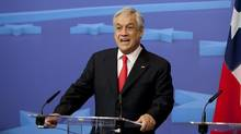 Chile's President Sebastian Pinera speaks during a media conference at the EU Council building in Brussels on Thursday, Nov. 15, 2012. (Virginia Mayo/AP)