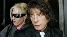 Phil Spector and his wife Rachelle leave the Los Angeles Country Superior Court Wednesday, Oct. 29, 2008. (Nick Ut)