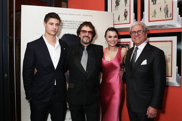 From left to right: Max Irons, George Mendeluk, Samantha Barks and Ian Ihnatowycz attended the gala Screening of Bitter Harvest in London, England on Feb. 20.