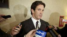 NHL vice president of hockey and business development Brendan Shanahan speaks to reporters during the NHL General Managers' annual fall meeting in Toronto, Ont. Tu