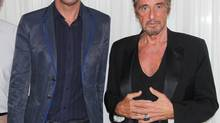 This image released by Starpix shows actors Bobby Cannavale and Al Pacino, right, at a media event to promote the upcoming Broadway production of Glengarry Glen Ross, at Studio Ten in New York. The play, which stars Pacino, Cannavale, Daniel Sullivan and Richard Schiff, will begin previews on Oct. 16 and open on Nov. 11 at the Gerald Schoenfeld Theatre in New York. (Dave Allocca/AP)