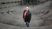 Omar Turk, 25, an MBA/MSCIB international student from Lebabon, stands on the deserted campus at Vancouver Island University in Nanaimo, BC, on Saturday. (Deddeda Stemler for The Globe and Mail/Deddeda Stemler for The Globe and Mail)