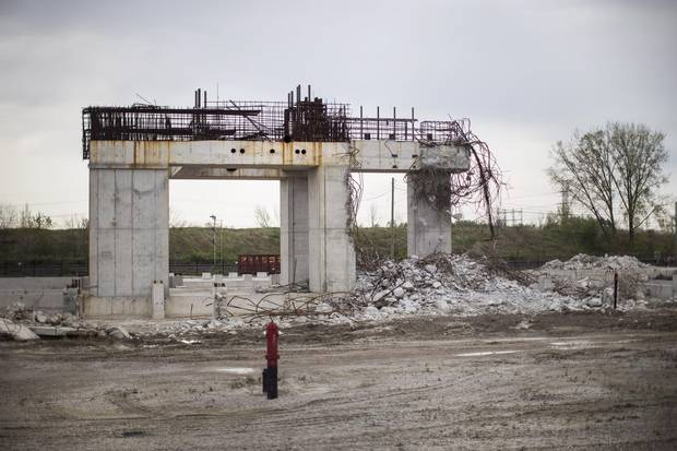 The remains are seen of the gas-fired power plant in Mississauga, which was cancelled by the Liberal Government before the provincial election of 2011.