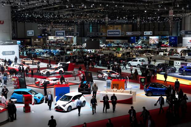 Cars sit on display at the 88th Geneva International Motor Show on March 7, 2018 in Geneva, Switzerland.