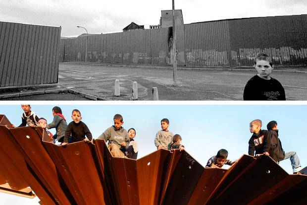 April, 2000 (top): Sean, a 11-year-old Catholic, walks out of his West Belfast home into a no-man's land between two peace walls that separate him from Protestants. Jan. 25, 2008 (bottom): Palestinians sit on a destroyed section of the border wall in Rafah, southern Gaza Strip, on the border with Egypt.