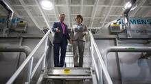 New MLA Mike Bernier toured a Dawson Creek water reclamation plant with Premier Christy Clark while campaiging in April. (John Lehmann/The Globe and Mail)