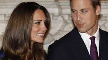 Britain's Prince William and his fiancee Kate Middleton (L) pose for a photograph in St. James's Palace, central London November 16, 2010. Britain's Prince William is to marry his long-term girlfriend Kate Middleton next year, after an on-off courtship lasting nearly a decade, bringing months of speculation about his intentions to an end. (Suzanne Plunkett/Reuters/Suzanne Plunkett/Reuters)
