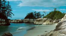 Photo of the Hakai Luxvbalis Conservancy Area landscape. The third is of West Beach on Calvert Island on the west Coast of the Conservancy. (Gail Ross/BC Parks)