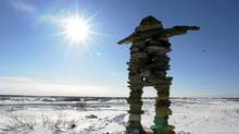 At the entrance to Kuujjuaq, Que., stands this huge Inukshuk. (Tibor Kolley/The Globe & Mail)