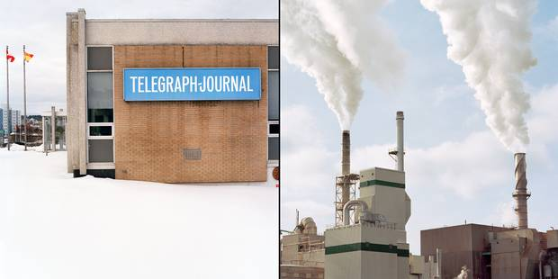 From left: the Telegraph-Journal; the Saint John pulp and paper mill.