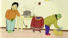 "A detail from ""Calling Annie"" by Inuit artist Annie Pootoogook (Courtesy Art Gallery of Ontario)"