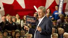 Stephen Harper speaks at a rally in Fredericton, N.B., on April 20, 2011. (Frank Gunn/THE CANADIAN PRESS)