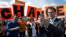 B.C. NDP Leader Adrian Dix attends a campaign stop in Kamloops on May 13, 2013. (Jonathan Hayward/The Canadian Press)