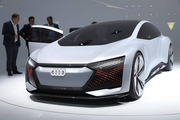 An Audi Aicon autonomous electric concept car.