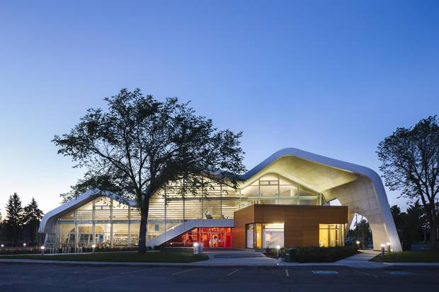 Jasper Place Branch Library features an undulating concrete roof which hangs, unsupported, across the entire expanse of the building.