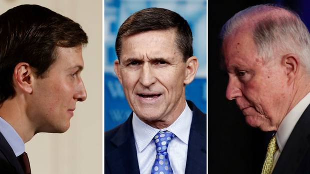 From left: Jared Kushner, Donald Trump's son-in-law; Michael Flynn, Mr. Trump's former national security adviser; and Jeff Sessions, the U.S. Attorney-General.