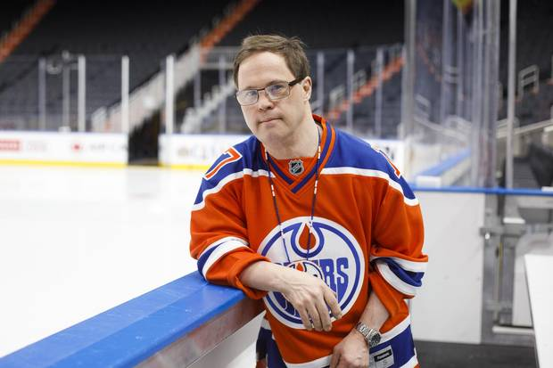 Edmonton Oilers locker room attendant Joey Moss is pictured on the Oilers' bench at Rogers Place in Edmonton, Alta., on Friday, April 28, 2017.