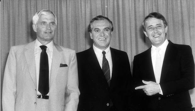 Party leaders John Turner of the Liberals, Ed Broadbent of the NDP and Brian Mulroney of the Progressive Conservatives pose for a portrait before an election debate on Aug. 15, 1984.