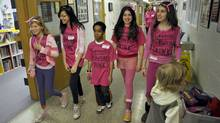 Elementary school students wear pink on an anti-bullying day in Toronto on April 13 , 2011. (J.P. MOCZULSKI/J.P. Moczulski for The Globe and Mail)