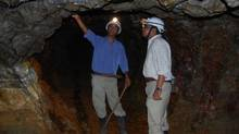 Pebble Creek employees in an underground exploratory mining tunnel in India.