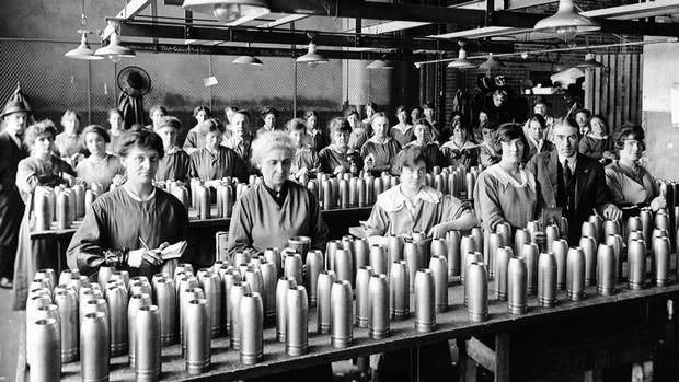 Women work inside a Northern Electric Co. Ltd. factory in Montreal in this undated National Archive photo during the Frist World War.