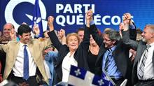 Pauline Marois celebrates the PQ's victory in 2012, which made her the first women to be premier in Quebec's history. (PAUL CHIASSON/THE CANADIAN PRESS)
