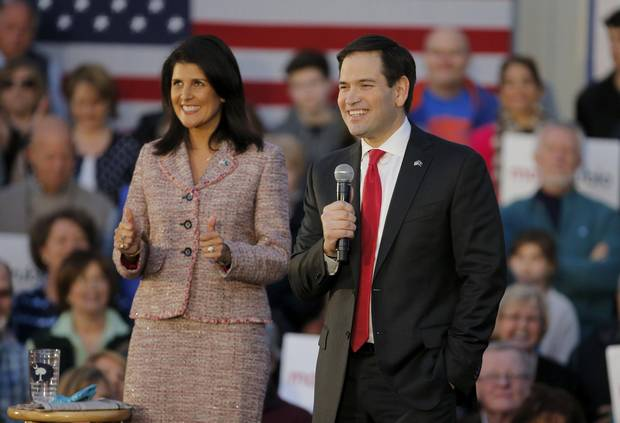 South Carolina Governor Nikki Haley and former Republican presidential candidate Marco Rubio at a Rubio campaign event in Chapin, South Carolina, in February.