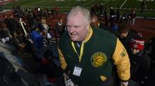 Toronto Mayor Rob Ford showed up at Centennial Park to watch the Don Bosco Eagle stake on the Cardinal Newman Cardinals in Metro Bowl football action on on Nov. 29 2013. (Fred Lum/The Globe and Mail)