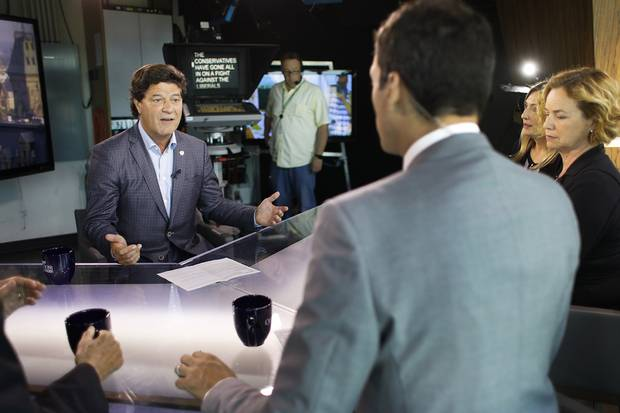 Jerry Dias takes part in a taping of Question Period with Evan Solomon at CTV.