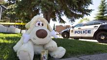 A teddy bear sits near where an Edmonton girl was left in a hot car – the third such case of late, with two resulting in death. (JASON FRANSON For The Globe and Mail)