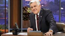 """This Nov. 5, 2012 photo released by NBC shows Jay Leno, host of """"The Tonight Show with Jay Leno,"""" on the set in Burbank, Calif. NBC announced Wednesday, April 3, 2013 that Jimmy Fallon is replacing Jay Leno as the host of """"The Tonight Show"""" in spring 2014. (Paul Drinkwater/AP)"""