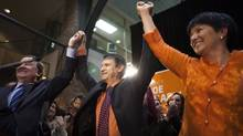 The newly elected NDP MLA for Port Moody-Coquitlam, Joe Trasolini, centre, celebrates his victory surrounded by colleagues, supporters and family in Port Moody, B.C. on April 19, 2012. (Rafal Gerszak for The Globe and Mail/Rafal Gerszak for The Globe and Mail)