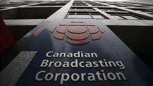 A sign is seen at the Canadian Broadcasting Corporation building in Toronto, March 25, 2009. (Mark Blinch/REUTERS)