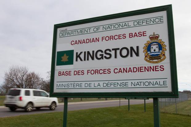 A sign for the Canadian Forces base in Kingston, Ont., is shown on MNov. 23, 2015. Several barracks on base are being cleaned out to make room for Syrian refugees.