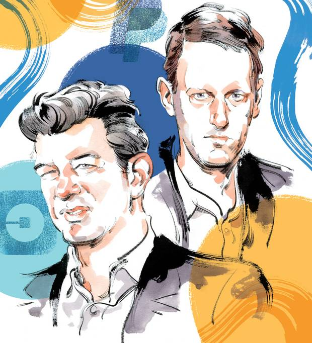 Former Uber CEO Travis Kalanick and PayPal co-founder Peter Thiel.