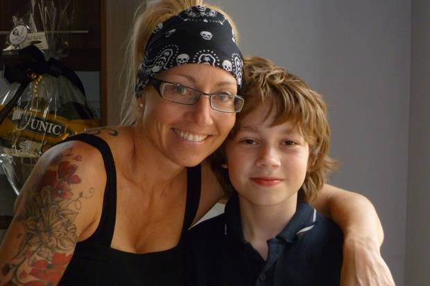 Ms. Le Scelleur with her son.