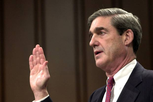 Robert Mueller is sworn in at the start of his testimony during his confirmation hearing as FBI director before the Senate Judiciary Committee on Capitol Hill on July 30, 2001.