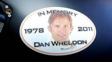 A sticker in memory of Dan Wheldon, who was killed in a crash on October 16, 2011 during the IZOD IndyCar series finale at Las Vegas Motor Speedway, is seen on the car of Ryan Newman, driver of the #39 U.S. Army Chevrolet, prior to practice for the NASCAR Sprint Cup Series Good Sam Club 500 at Talladega Superspeedway on October 21, 2011 in Talladega, Alabama. (John Harrelson/John Harrelson/Getty Images)