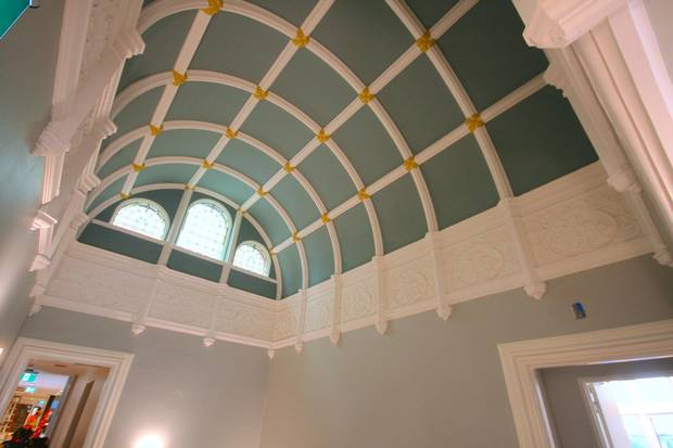 The second floor hall features a barrel-vault ceiling.