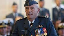 Incoming Commander of the RCAF and Chief of the Air Force Staff Lieutenant-General Yvan Blondin speaks during a Change of Command ceremony for the Royal Canadian Air Force Thursday, September 27, 2012 in Ottawa. (Adrian Wyld/THE CANADIAN PRESS)