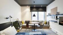 The denim-blue colour pallet of the Ace Hotel Shoreditch's guest rooms recalls a high-school staff room, (Andrew Meredith)